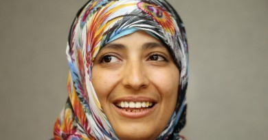 "NEW YORK, NY - OCTOBER 19:  2011 Nobel Peace Prize winner Tawakkul Karman from Yemen smiles during a meeting with United Nations Secretary-General Ban ki-moon at U.N. headquarters on October 19, 2011 in New York City. Karman was awarded the prize for her actions during the Yemen uprising and is often called the ""mother of Yemen?s revolution.""   (Photo by Mario Tama/Getty Images)"