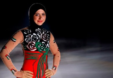 Zahra Lari, the first professional figure skater to compete internationally wearing a headscarf